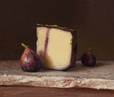 "Daily Paintworks - ""Two Figs with Ubriacone al Prosecco Mitica on Marble (the light, the shade)"" - Original Fine Art for Sale - © Abbey Ryan Still Life Fruit, Painted Cakes, Painting Still Life, Hyperrealism, Food Drawing, Still Life Photography, Prosecco, Fine Art Gallery, Art For Sale"