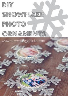 Snowflake Photo Ornaments Friday, December 2013 By Jamie 5 Comments Snowflake Photo Ornaments Noel Christmas, Christmas Crafts For Kids, Homemade Christmas, Christmas Projects, Christmas Activities, Winter Christmas, Holiday Crafts, Holiday Fun, Christmas Gifts
