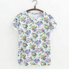 Womens Orchid Flowers Short Sleeve Summer t-shirt
