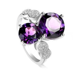 New Arrival,Luxury Natural amethyst Silver Ring,925 Sterling Silver,3 Layer Platinum Plated,Wholesale Silver Ring Supplier RJ25