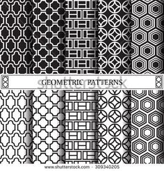 geometric black and white vector pattern, pattern fills, web page background, surface textures