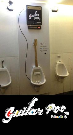 Guitar Pee. Interactive Urinals that allow you to play and download what you played on guitarpee.com