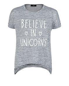 Teens Grey Fine Knit Believe in Unicorns Asymmetric Top Teen Guy Fashion, New Look Tops, Asymmetrical Tops, Yellow Top, Fashion Online, Crop Tops, Knitting, Unicorns, Grey