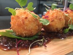 House Made Pimento Cheese Fritters with Smoked Bacon Marmalade // Spring 2014 Menu at Cyprus Grille Embassy Suites Hampton Roads