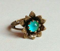 Hermoso anillo de girasol turquesa 😍