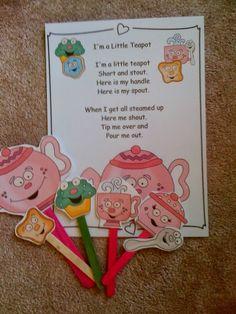 Preschool Printables: Free I'm a Little Teapot Puppet Sticks