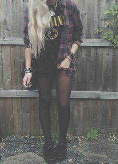 • photography girl nirvana rock style hipster vintage boho indie Grunge blonde outfit punk necklace creepers dark vintage blone plad dancinqelephants •