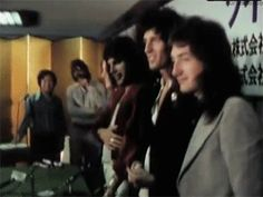 Queen at a press conference in Japan, 1975.