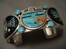 "INTENSE INLAY ZUNI TURQUOISE """"OUTER SPACE INLAY"""" STERLING SILVER BRACELET"
