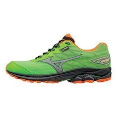 Mizuno Mens Running Shoes - Men s Wave Rider 20 G-Tx - 410870 Size 7 Green  Flash-Clownfish 598da31b6d