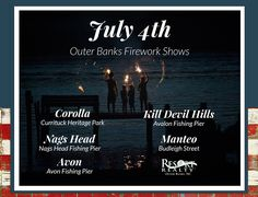 July 4th OBX Fireworks & Celebrations! View the fireworks from the beach with a beautiful ocean reflection here on the Outer Banks