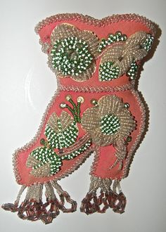 Antique  Iroquois Beaded Boot or Shoe Wall Pocket