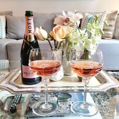 pink champagne for a girls night in! #withlovefromkat.com