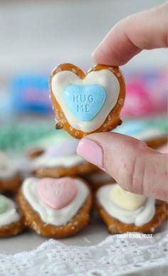 Pretzel Hearts - How to make hearts on regular pretzels for Valentine's Day!