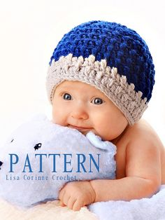 Boy Textured Hat - Easy Crochet Instant Download PATTERN PDF - Striped Beanie Cap - Infant - Baby - Toddler - Modern Crochet Bonnet