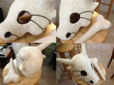 How to make cubone head with aluminum foil and paper mache 1. Get the shape of your head with aluminum foil. 2. Add the details with aluminum foil (horns, fangs and nose) 3. Give forms to the...