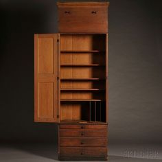 Shaker Pine Schoolhouse Cupboard and Case of Drawers, Mount Lebanon, New York, c. the flat cove-molded cornice above a panel with two pegs over a double-hinged door with four recessed molded Furniture Hinges, Shaker Furniture, Wood Furniture, Furniture Design, Building Furniture, Furniture Projects, Cupboard Shelves, Tall Cabinet Storage, Primitive Furniture