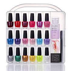 Makartt Portable Nail Polish Organizer Holder For 36 Bottles With Large Separate Compartment Tools