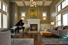 Green And Gray Design Ideas, Pictures, Remodel, and Decor - page 4  Houzz Love the gray, cream and black with Chartreuse in artwork.