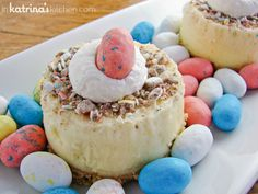 Mini Malted Milk Cheesecakes decorated for Easter.  Seems like a relatively simple mini cheesecake recipe.