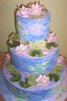 This is the cake I am going to make for myself when I throw myself a big birthday party speaking of good ideas. van gogh cakes: and a monet cake: let them eat cake! marie antoinette in cake not just your run of the mill Gorgeous Cakes, Pretty Cakes, Cute Cakes, Amazing Cakes, Lily Cake, Best Cake Ever, Purple Wedding Cakes, Camo Wedding, Gold Wedding