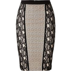 See this and similar Blumarine knee length skirts - Contemporary peek-a-boo lace paneling lends a sultry look to this figure-hugging pencil skirt from Blumarine. Skirt Pants, Dress Skirt, Lace Skirt, African Fashion Skirts, Fashion Dresses, Cute Skirts, Skirt Outfits, Dress Patterns, Clothes For Women