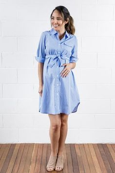 A chic maternity shirt dress that's perfect for pregnancy work wear or can be styled down for casual weekend wear. Fast online shipping, get this breastfeeding friendly dress in working days. Maternity Work Dresses, Maternity Shirt Dress, Stylish Maternity, Maternity Fashion, Maternity Nursing, Stylish Dresses, Simple Dresses, Dresses For Work, Maternity Clothes Australia