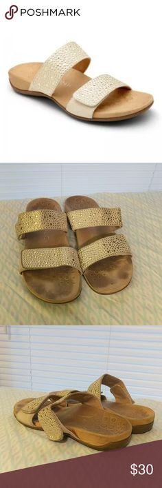 606d592cd92 Vionic gold studded podiatrist designed sandals