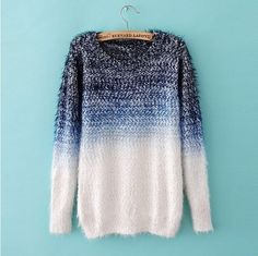 cool womens sweaters jumpers feather yarn wool Ombre fashion sweater from Boutiquewomenshopping