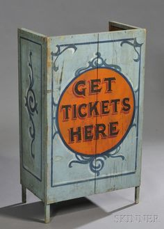 AMERICAN FURNITURE & DECORATIVE ARTS - SALE 2618B - LOT 658 - PAINT DECORATED TICKET BOOTH, AMERICA, LATE 19TH CENTURY, OLD SURFACE, HT. 40 3/4, WD. 24 1/4, DP. 13 1/4 IN. PROVENANCE: A REGULAR FEA - Skinner Inc