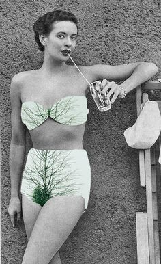 "In her series ""Natural Act"", Turkish photographer Merve Özaslan makes imaginative collages mixing vintage black and white photographs with colorful landscapes and natural elements"