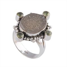 925 Solid Silver Natural Titanium Druzy Stone Ring Jewellery DJR-0020 #Ring