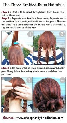 The Three Braided Buns Hairstyle Tutorials