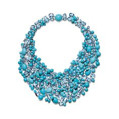 プラチナのアクアマリン、ターコイズ、ダイヤモンドをあしらったネックレス。