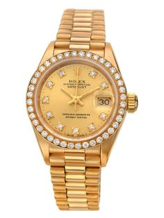Rolex Oyster Perpetual Date Just President Watch, 26mm, round 18K yellow gold case with gold-tone dial, date window at 3 o'clock, diamond markers, and diamond-detailed bezel  Total diamond carat weight is 0.50 18K yellow gold bracelet Automatic movement Water resistance tested at 100M Fold-over clasp closure