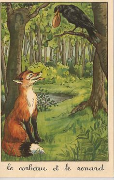 "Illustration for The Crow and the Fox fable in ""Fables"" by French poet Jean de la Fontaine (1621 - 1695)"