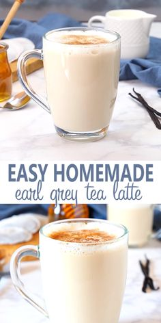 This Earl Grey Vanilla Tea Latte or London Fog is a simply delicious and popular coffee shop drink thats so easy to make at home! And it calls for real healthy ingredients its low in fat can be made dairy-free and its free of refined sugars! Milk Tea Recipes, Iced Tea Recipes, Brunch Recipes, Breakfast And Brunch, Coffee Latte, Coffee Shop, Vanilla Chai Tea Latte Recipe, Starbucks Chai Tea Latte Recipe, Tea Time