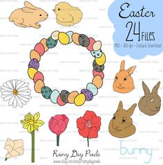 Easter Hand Drawn Clipart Easter basket Easter by RainyDayPixels