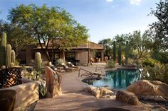 Exterior Design, Tremendous Mediterranean Pool With Desert Landscape Ideas Also Solid Gravel Footpath Material And Cool Desert Stone Exterior Ornament: Desert Landscape Design for Backyard