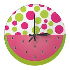 Pink and Green Polka Dot Watermelon Wall Clock. May be customized with a name or monogram. www.gem-ann.com (Zazzle store)