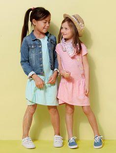 Vestido asimétrico para niña BLANCO CLARO LISO CON MOTIVOS+ROSA CLARO LISO CON MOTIVOS+VERDE CLARO LISO CON MOTIVOS