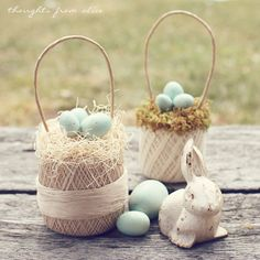 Thoughts from Alice: Vintage Thread Ball Egg Basket {Easy DIY}