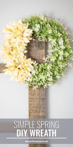 simple spring wreath, DIY spring wreath, spring wreath, dollar store craft, dollar store wreath #springdecor #DIYwreath