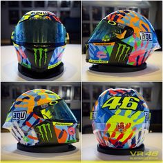 Valentino Rossi's special helmet at Misano Marco simoncelli circuit 2014 Hand prints of his friends and dog and cat!