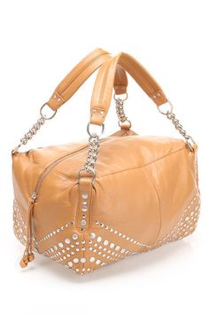 ac319a490e Junior Drake Camel Tan Italian Leather Box Satchel Bag Studs Chains NWT in  Clothing