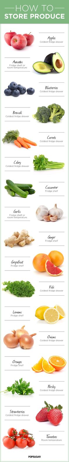 How to store produce #infographic