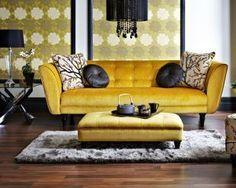 New Room Decor Yellow Walls Couch Ideas Yellow Couch, Yellow Walls, Mustard Sofa, Mustard Yellow, Living Room Sofa, Living Room Decor, Living Spaces, Yellow Home Decor, Contemporary Sofa