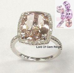 $699 Reserved for michelle_dolinski  Cushion Morganite Engagement Ring Pave Diamond Halo 14K White Gold 10x12mm