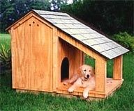 DIY Dog House With Shade Porch Plans; A Good Dog House: Is large enough to fit your dog comfortably, they must be able to turn arou. Dog House With Porch, Build A Dog House, Dog House Plans, House Dog, Duck House, Porch Plans, Coop Plans, Barn Plans, Garage Plans