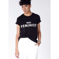 Wildfang Wild Feminist�  Tee ($40) ❤ liked on Polyvore featuring tops, t-shirts, cotton tee, blue t shirt, blue tee, crew-neck tee and blue top